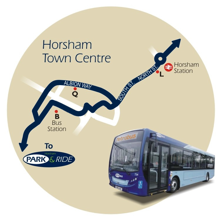 line diagram of the location of bus stops in Horsham